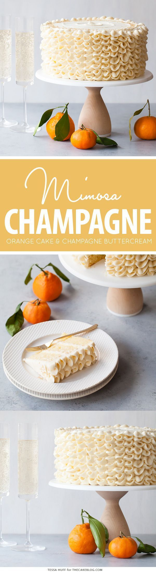 Champagne Mimosa Cake - tender, orange sponge cake smothered with silky champagne buttercream | by Tessa Huff for http://TheCakeBlog.com