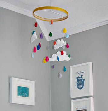 diy mobile: Baby Mobiles, Grey Wall, Projects Nurseries, Raindrop, Cribs Mobiles, Embroidery Hoop, Cloud Mobiles, Rain Drop, Mobile Design