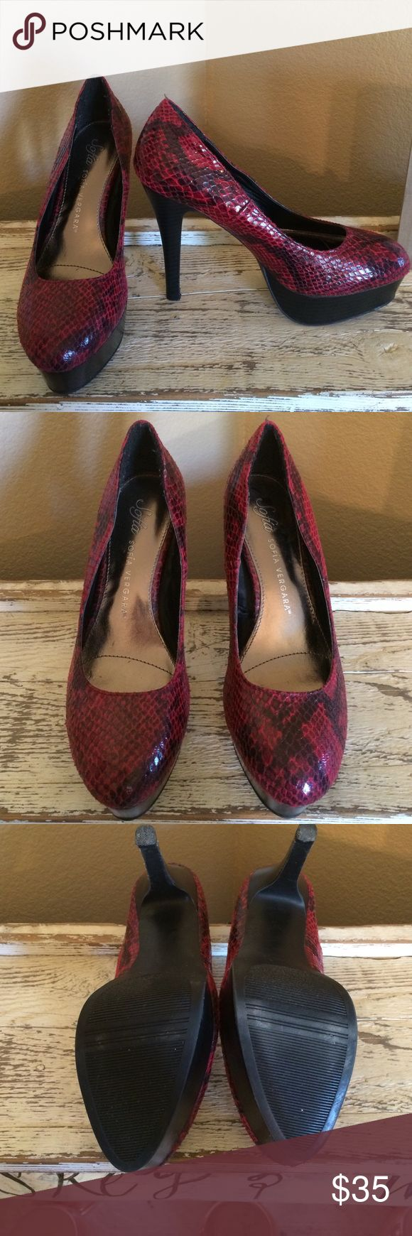 Sofia Vegara red and black heels Super sexy red and black snake skin print heels. Excellent condition. Shoes Heels