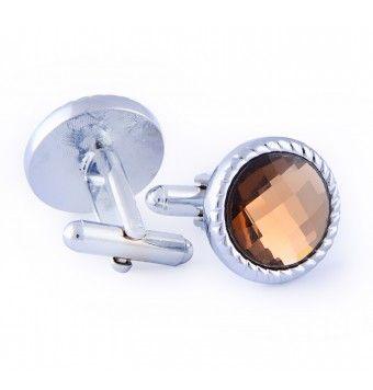 Sterling Silver Round Crystal Stone Brown Cufflinks