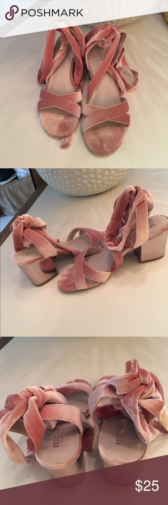 """Kenneth Cole Reaction Velvet gladiator sandals Blush Velvet and silver tone 2.5"""" block heels MEDIUM WIDTH. Worn once but I but I am size NARROW, I loved them sooo much but my feet kept moving forward.  Looks really sexy but doesn't fit my long narrow  feet!😢 Kenneth Cole Reaction Shoes Sandals"""