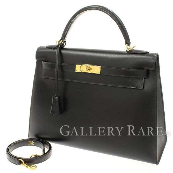 エルメス ハンドバッグ ケリー32 cm 外縫い ブラック×ゴールド金具 ボックスカーフ F刻印 HERMES Kelly バッグ 黒