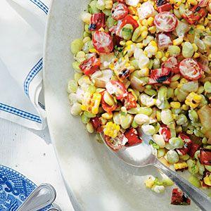 Grilled Corn-and-Butter Bean Salad | MyRecipes.com: Corn Recipes, Grilled Cornandbutt, Beans Salad Recipes, Butter Beans, Grilled Corn And Butts, Cornandbutt Beans, Corn And Butts Beans, Fish Fries, Bean Salads
