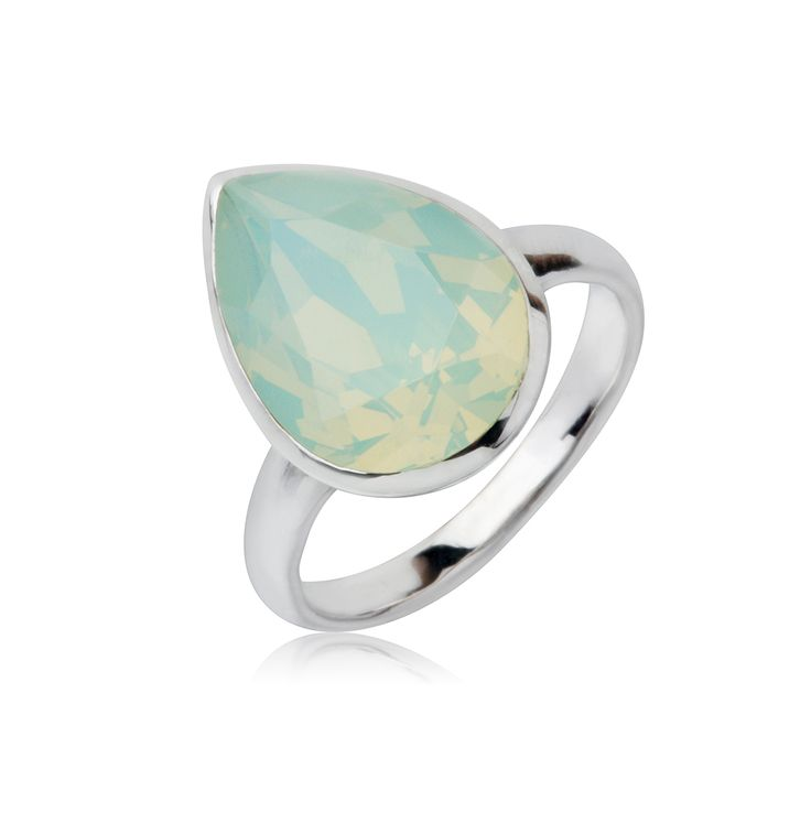 Chrysolite Opal Tear Drop 14x10mm Ring  $79.95 Tear drop 14x10mm Swarovski Crystal elements ring crafted with rhodium enhanced sterling silver. #Bling #SwarovskiCrystal #MarisaKateDesigns #Love #ChrysoliteOpal
