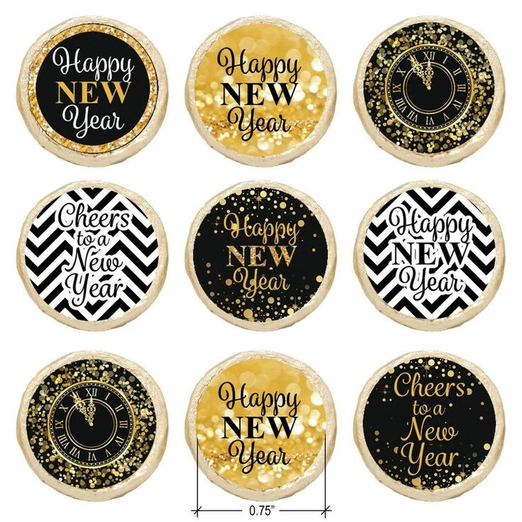 These Black and Gold New Year's EveParty favor stickersare the perfect final detail to add to your upcomingNYE event. Each...