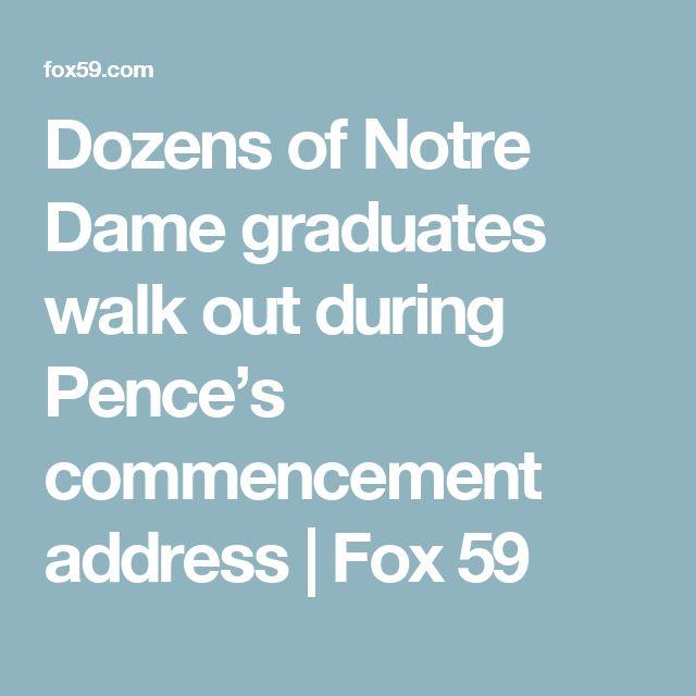 Dozens of Notre Dame graduates walk out during Pence's commencement address | Fox 59
