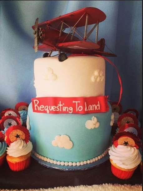 Cool cake at an airplane baby shower party! See more party planning ideas at CatchMyParty.com!