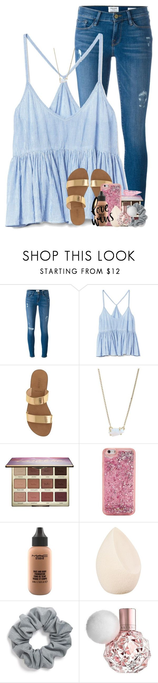 """in desperate need of a hug rn"" by betterbeliebitsemcaniff ❤ liked on Polyvore featuring Frame, Gap, J.Crew, Kendra Scott, tarte, ban.do, MAC Cosmetics, Christian Dior, Natasha and By Terry"
