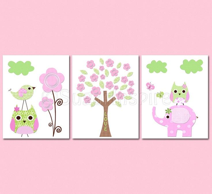 Pink and green Nursery Art Print Set, Kids Room Decor, Children Wall Art - Elephant, owl, love bird, flowers, tree. $39.95, via Etsy.