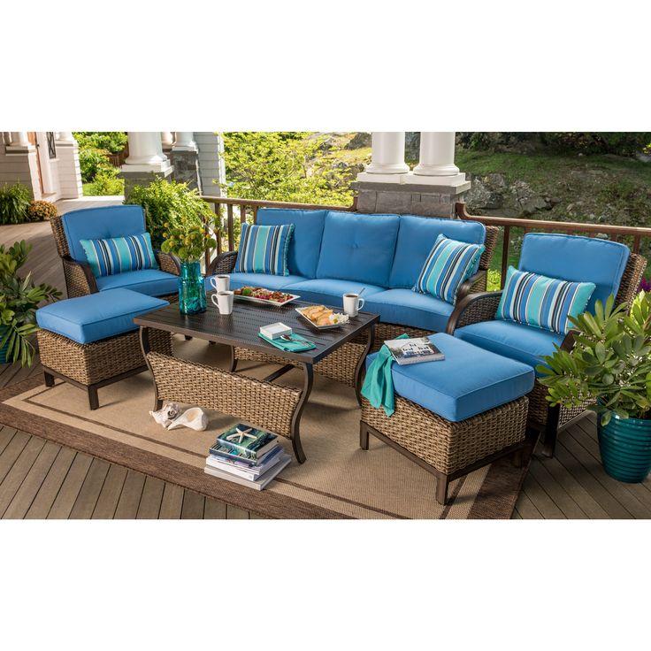 Berkley Jensen Nantucket 6 Piece Wicker Deep Seating Set In French Blue
