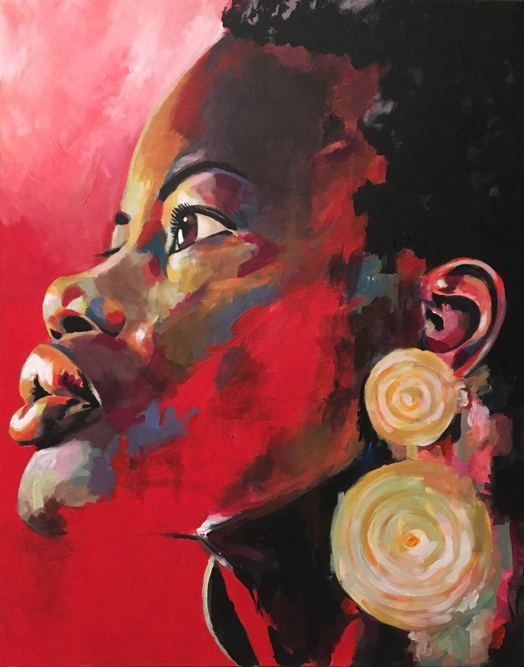 Portrait rouge aux boucles d'oreilles. Acrylique sur toile – 92x73cm. 900€ peinture femme africaine bijoux