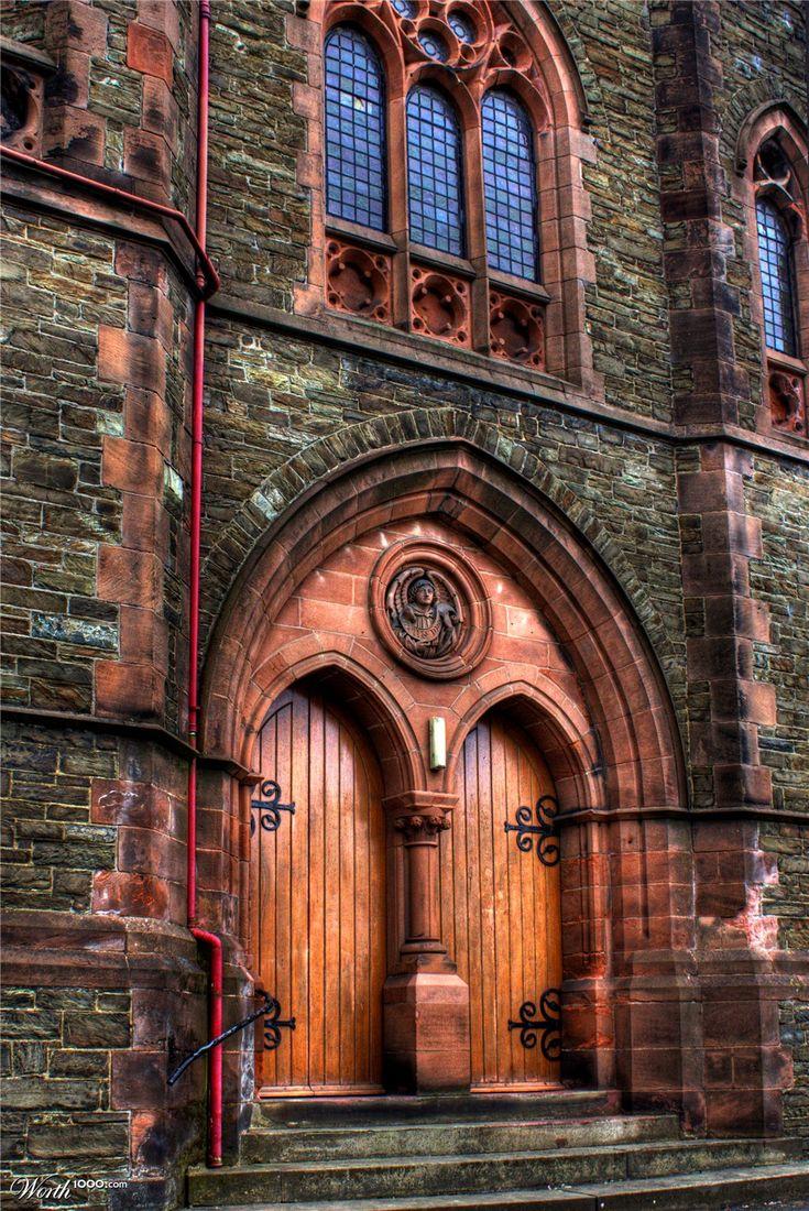 Arched portals, wood carved doors, Trinity Methodist Church ~Douglas, Isle of Man