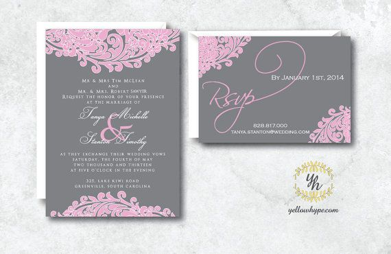 Pink and Grey Wedding Invitation Set Including by TheWhiteInvite on Etsy, $3.00