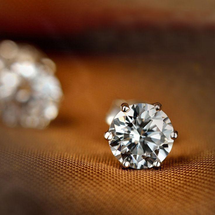 2015 panas desain baru berlian imitasi kristal 925 Sterling Silver anting pejantan, Kancing tindik telinga untuk wanita, Hadiah pesta pernikahan