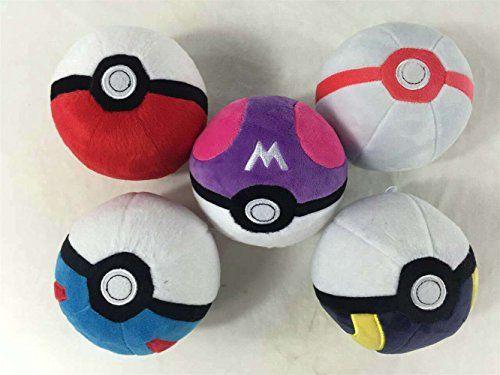 "Pokemon Pikachu Master BALL Pokeball Plush Toy Soft Stuffed Doll 5"" Xmas – Pokemon Toys: Soft toys"