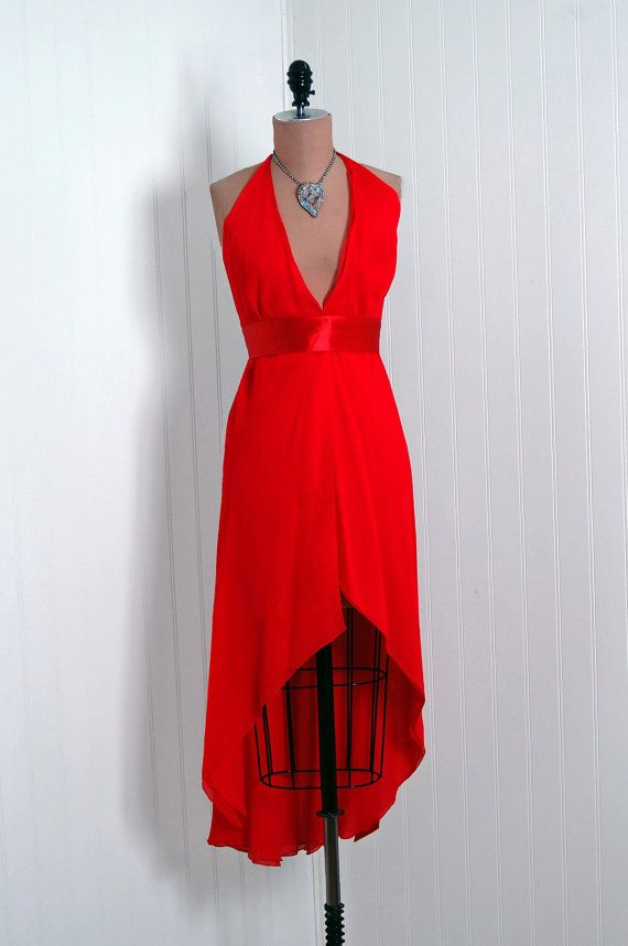 1970's Vintage Halston DesignerCouture Red by TimelessVixenVintage, $1200.00: 1970 S Vintage, Cocktail Parties, Hourglass Low Plunging, Halter Bombshells, Designercoutur Red, Cocktails Parties Dresses, Designer Couture Red, Halter Dresses, Cocktail Party Dresses
