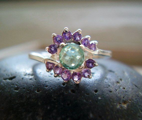 The Princess Aurora - Genuine Emerald & Amethyst - Alternative Engagement - Unique Wedding - OOAK Ring on Etsy, $150.00