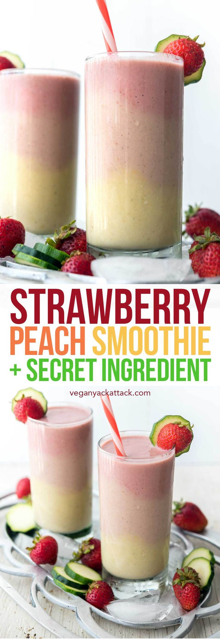 This Strawberry Peach Smoothie has beautiful, creamy layers, with some sneaky ingredients! Perfect for breakfast, or to cool down this summer. #vegan #glutenfree #soyfree #veganyackattack #SilkSmoothies