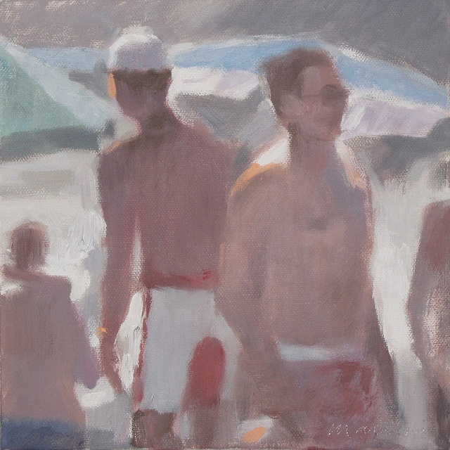 I bagnanti #1545 The Bathers, olio su tela. cm 20x20