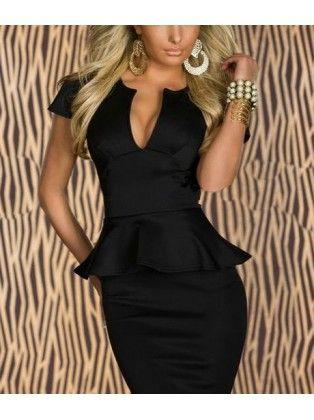 Neckline Black Peplum Dress
