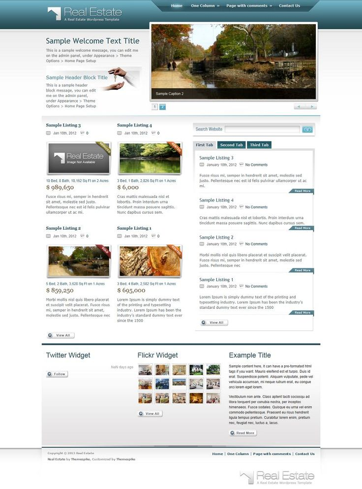 Real Estate Theme is a professional WordPress Template, that is suitable for real estate type websites or for showcasing your work and/or pr...