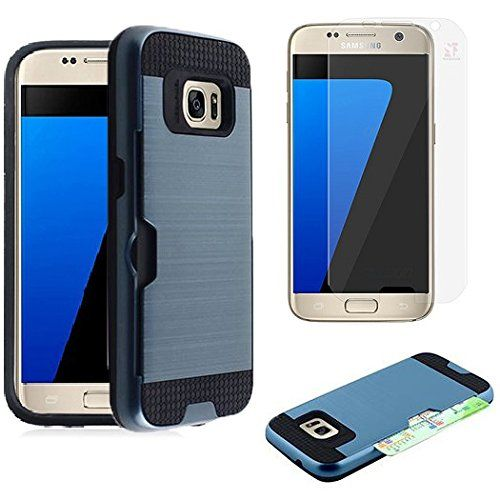 Buy For Samsung Galaxy S7 SM-G930 Slim Armor Case [SlickGearsTM] Premium Shock Impact Protection Dual Layer Rugged Case with ID/Credit Card Holder and LCD Screen Protector Combo (Metallic Blue) NEW for 11.99 USD | Reusell