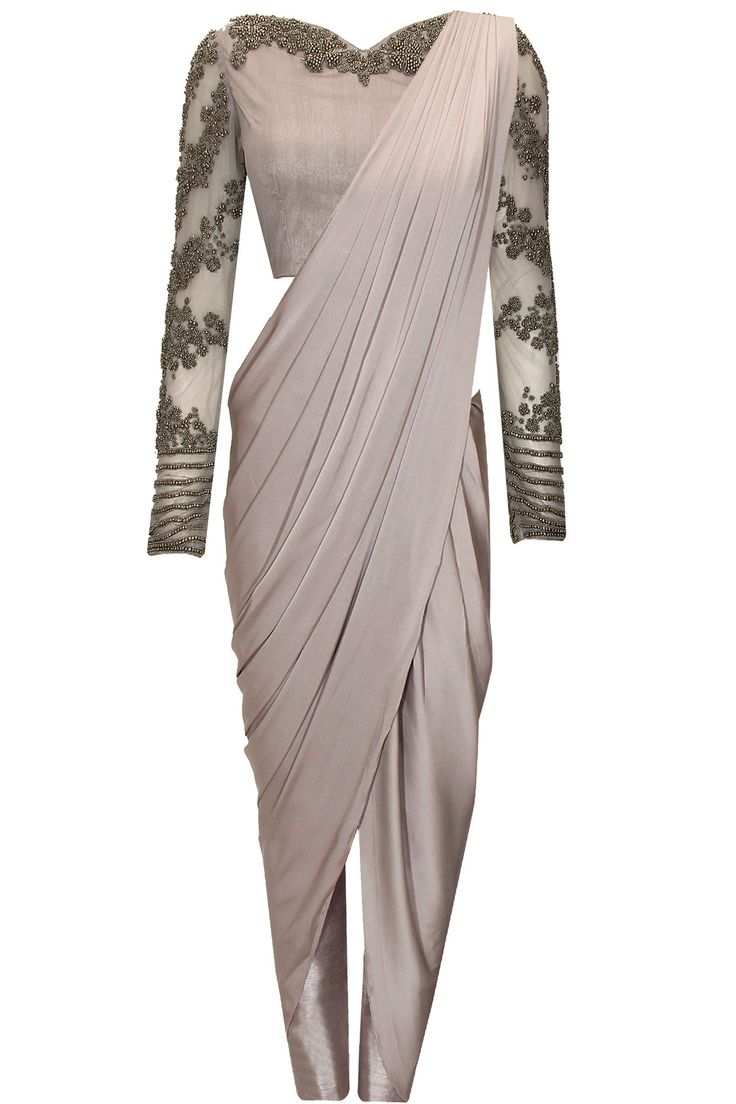 Grey beaded three piece wrap sari set available only at Pernia's Pop-Up Shop.
