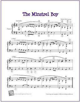 The Minstrel Boy (Celtic) | Free Sheet Music for Piano - http://makingmusicfun.net/htm/f_printit_free_printable_sheet_music/the-minstrel-boy-piano-solo.htm