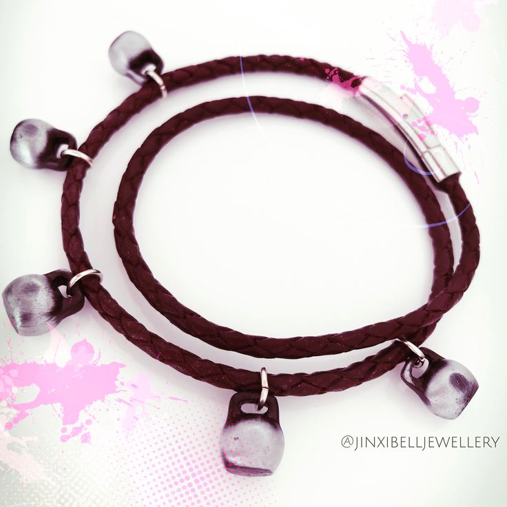 Bespoke piece by Jinxibell.  Brown leather bracelet with miniature KB charms.