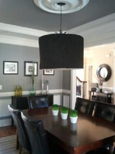 """Gray Dining Room """"Cement"""" by Martha Stewart."""