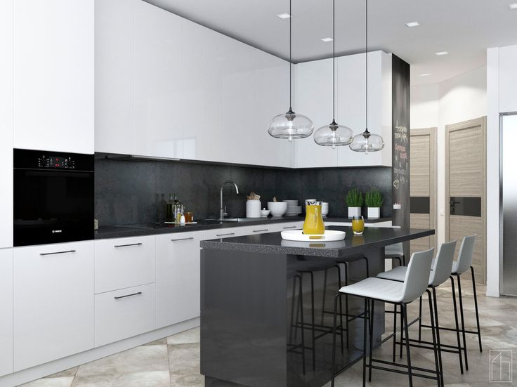"""Проект квартиры """"Quite Music"""".Выполнен для молодой семьи,которая ценит хорошую музыку и уют. Общая площадь- 105,7 м.кв. Кухня в современном стиле.(Ракурс №1)"""