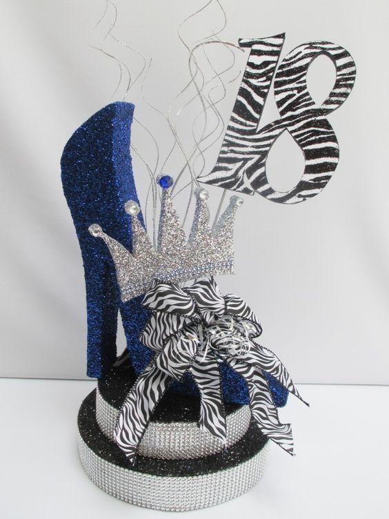 Shoe theme party idea > high heel centerpiece. Love this zebra-inspired decoration!