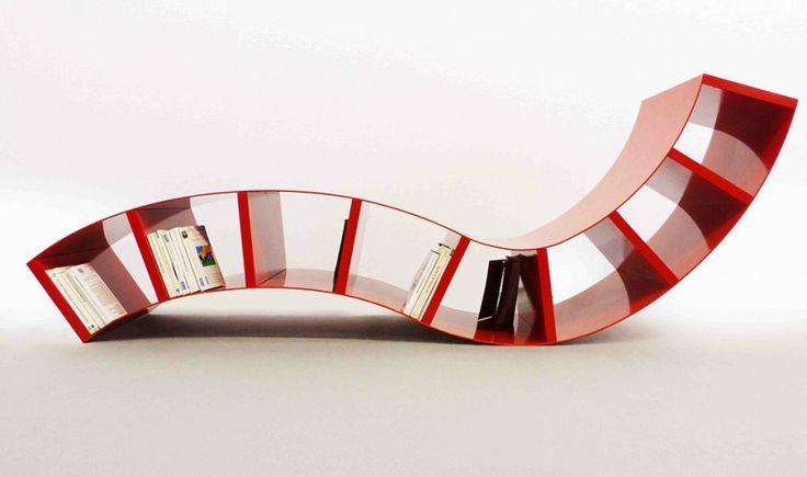 modern red metal book shelves