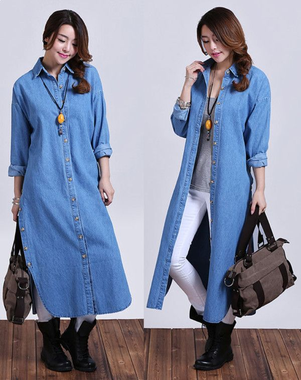 long denim shirt dress - Google Search