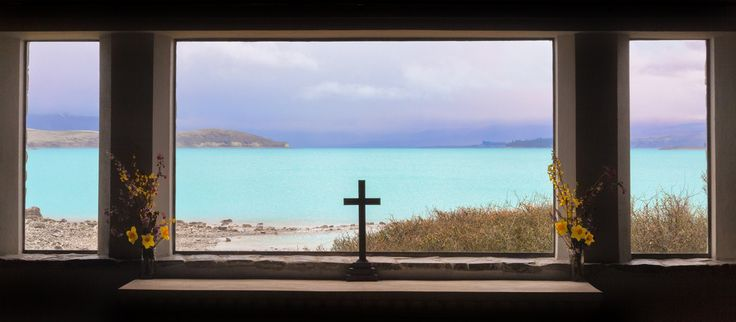 """Lake Tekapo, South Island, New Zealand. Blue Lake.  The amazing turquoise blue colour of Lake Tekapo is created by """"rock flour"""": the glaciers in the headwaters grind the rock into fine dust.  These suspended particles in combination with the sunlight create Lake Tekapo's unique water colour."""