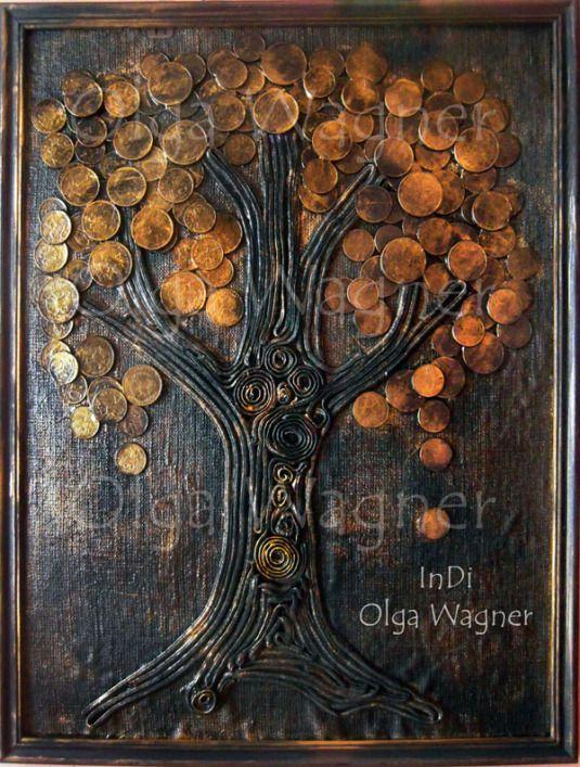 Панно из монет дерево - Ru kartinki