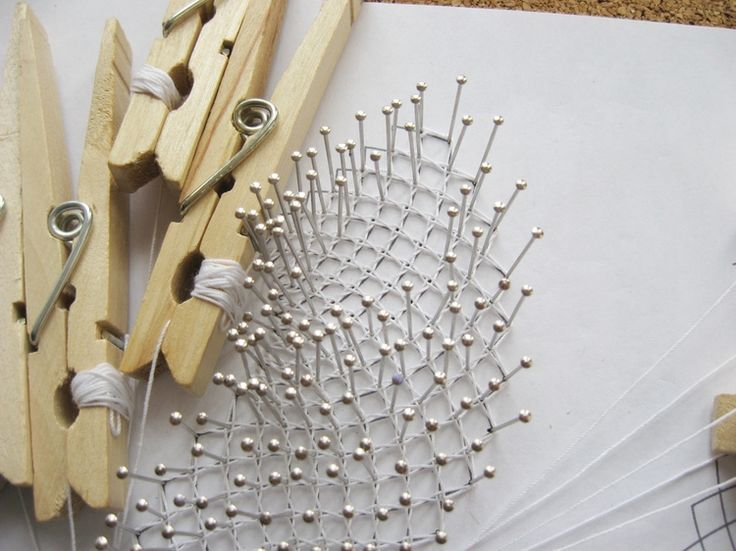 Basics of Bobbin Lace - Luxe DIY - How Did You Make This? Who would have though of using clothespins?