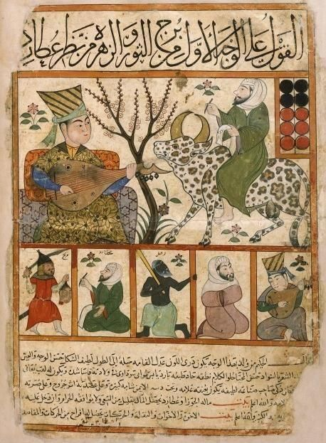 """Manuscrit égyptien du 14-15ème reproduit du Kitab al-Mawalid """"Livre de crèches"""" persan du 9ème"""