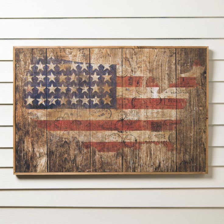 Birch Lane American Flag Wooden Print   Rustic Charm Meets Patriotic Flair  In This Tasteful American