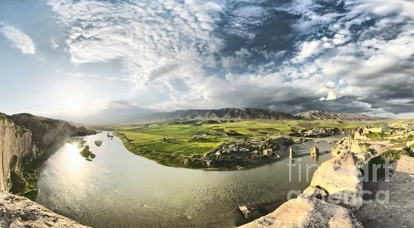 6-shot HDR-panoramic image shot on the hill of Hasankeyf (nearby Mardin, Turkey) ancient town with 10,000 years of history which is in danger now, some of the city's historical treasures will be inundated if construction of the Ilisu Dam is completed.