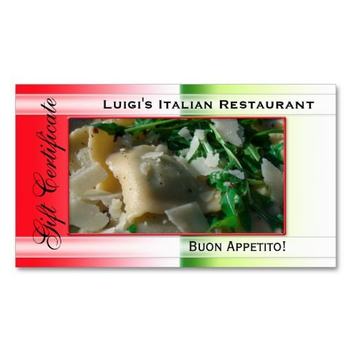 Italian Restaurant Gift Certificate Template Double-Sided Standard Business Cards (Pack Of 100)