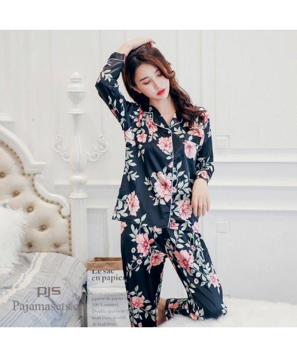 fe9229ee683c New Satin silk ladies  pajamas cute printed set pj...