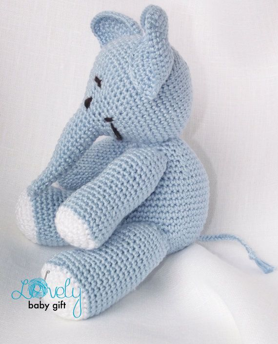 This Listing is for the PDF crochet PATTERN and NOT the elephant toy. This elephant crochet pattern can be downloaded immediately from Etsy once payment is confirmed. Pattern is written in English, using US crochet terminology. This amigurumi blue elephant toy is easy to make, if you know all the basic crochet terms: - crocheting in rounds - chain, slip, single crochet stitch - increasing and decreasing Pattern can be made with sport or worsted weight yarn. The finished elephant size is a...