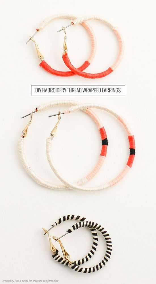 wrap plain ol hoop earrings in embroidery floss like a friendship bracelet.