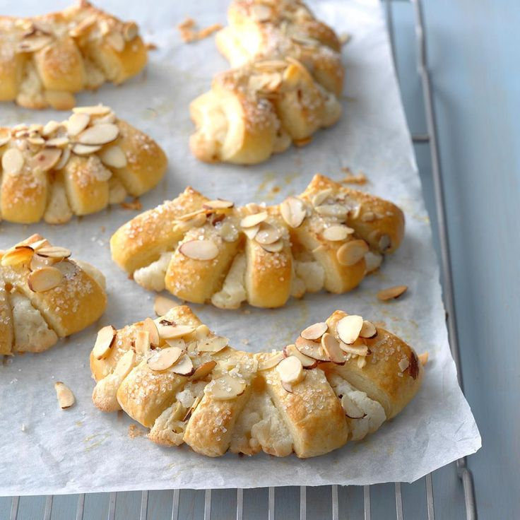 Almond Bear Claws Recipe -These bear claws are absolutely melt-in-your-mouth delicious! It's impossible to resist the delicate pastry, rich almond filling and pretty fanned tops sprinkled with sugar and almonds. I made yummy treats like this when I worked in a bakery years ago. -Aneta Kish, La Crosse, Wisconsin