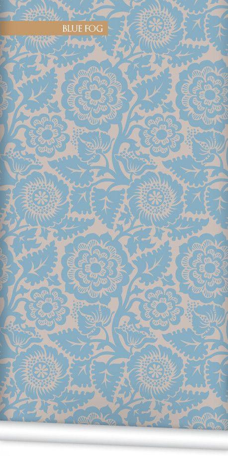 Block Print Blossom Wallpaper in Blue Fog by Milton & King | BURKE DECOR