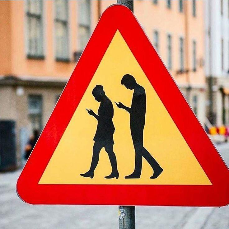Beware phone zombies crossing. By @sempler in Stockholm Sweden.  So true! :)