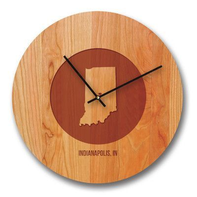 """Richwood Creations 15"""" Indiana City and State Cherry Wall Clock"""