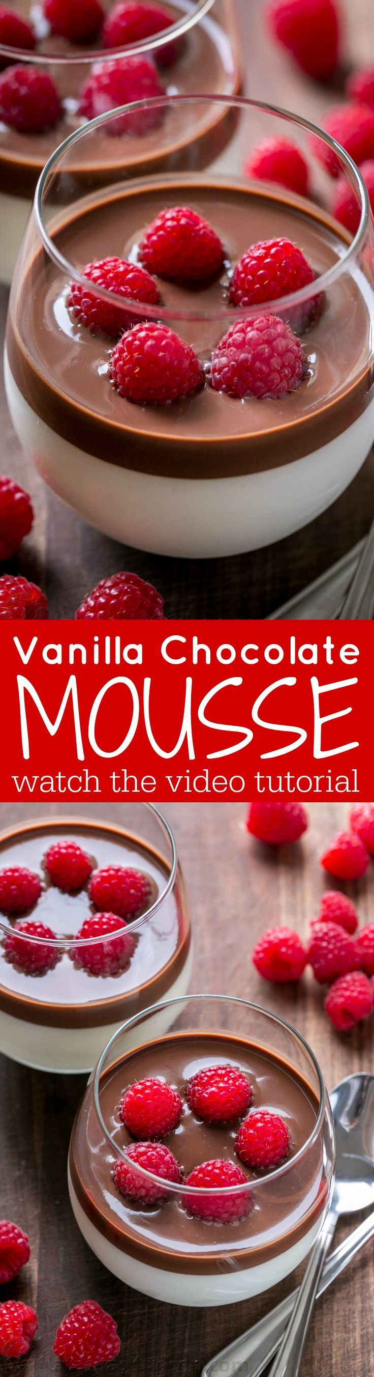 This Vanilla Mousse is an European dessert with creamy base and silky chocolate topping. An elegant vanilla mousse recipe that's surprisingly easy (VIDEO)   http://natashaskitchen.com