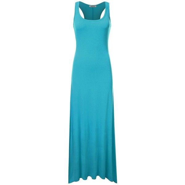 NINEXIS Women's Sleeveless Racerback Tank Maxi Dress ($9.90) ❤ liked on Polyvore featuring dresses, sleeveless dress, sleeveless maxi dress, blue sleeveless dress, racer back dress and blue maxi dress